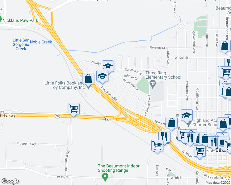 map of restaurants, bars, coffee shops, grocery stores, and more near 1022 Jonabell Way in Beaumont