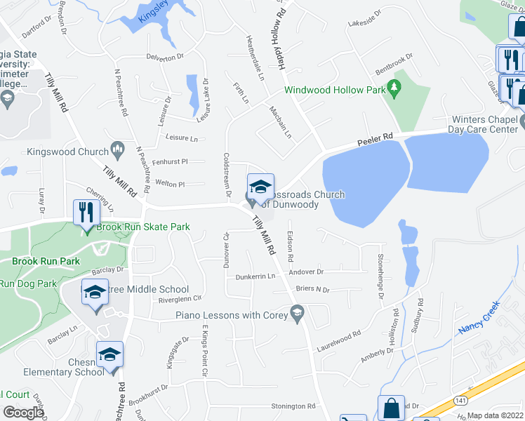 map of restaurants, bars, coffee shops, grocery stores, and more near 4805 Tilly Mill Road in Atlanta