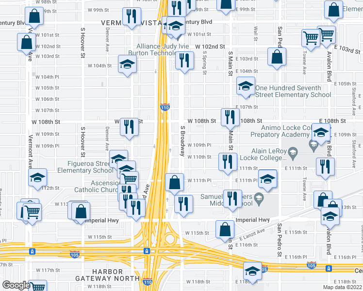 map of restaurants, bars, coffee shops, grocery stores, and more near 10966 South Broadway in Los Angeles