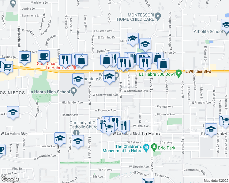 map of restaurants, bars, coffee shops, grocery stores, and more near 551 West Greenwood Avenue in La Habra