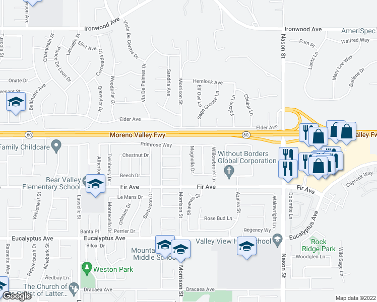 map of restaurants, bars, coffee shops, grocery stores, and more near 12601 Magnolia Drive in Moreno Valley