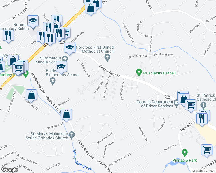 map of restaurants, bars, coffee shops, grocery stores, and more near 5375 Stanford Village Lane in Norcross
