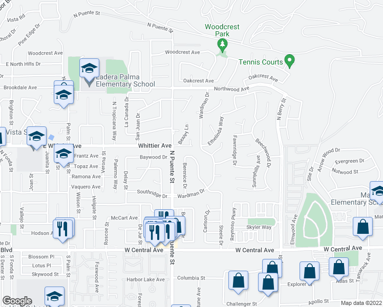 map of restaurants, bars, coffee shops, grocery stores, and more near 1170 Steele Drive in Brea