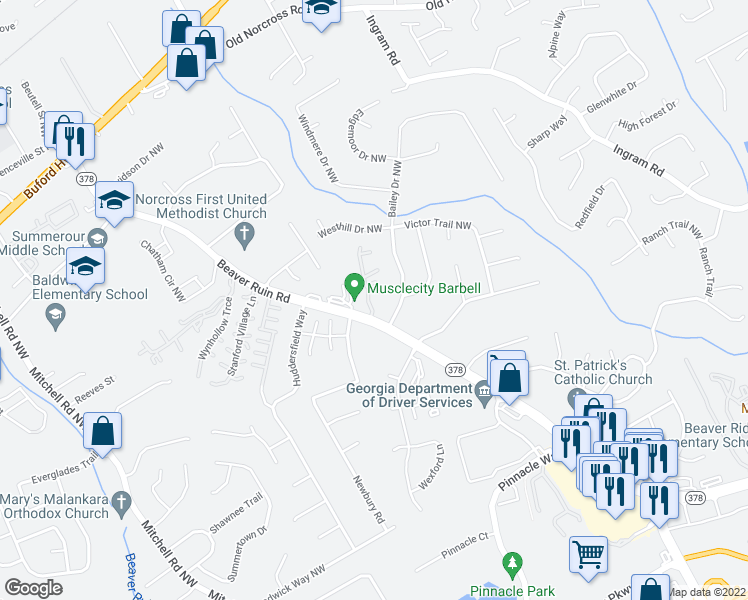 map of restaurants, bars, coffee shops, grocery stores, and more near 2340 Beaver Ruin Road Northwest in Norcross