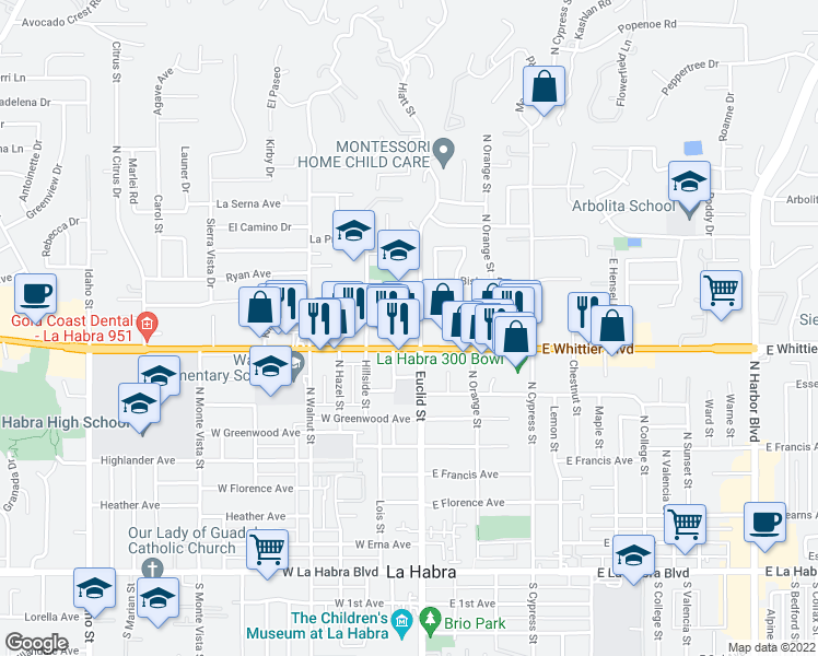 map of restaurants, bars, coffee shops, grocery stores, and more near 861 North Euclid Street in La Habra
