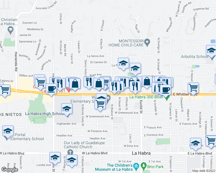 map of restaurants, bars, coffee shops, grocery stores, and more near 901 North Walnut Street in La Habra