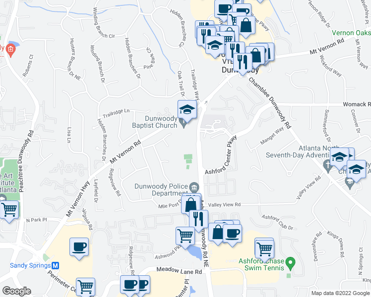 map of restaurants, bars, coffee shops, grocery stores, and more near 1445 Mount Vernon Road in Dunwoody