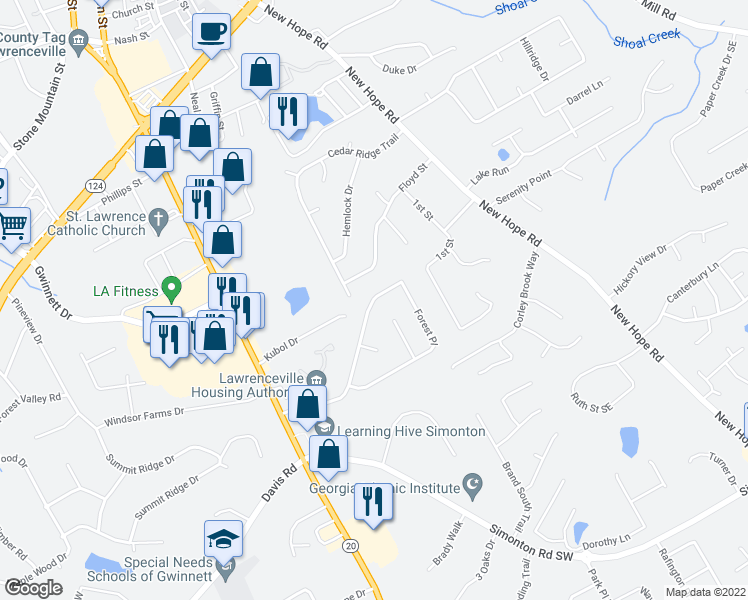 map of restaurants, bars, coffee shops, grocery stores, and more near 211 Forest Place in Lawrenceville