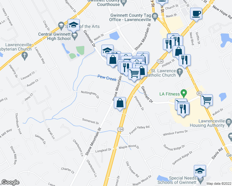 map of restaurants, bars, coffee shops, grocery stores, and more near 345 Stone Mountain Street in Lawrenceville