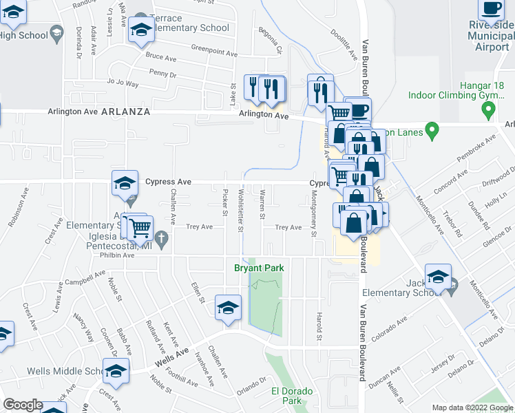 map of restaurants, bars, coffee shops, grocery stores, and more near 5910 Warren Street in Riverside