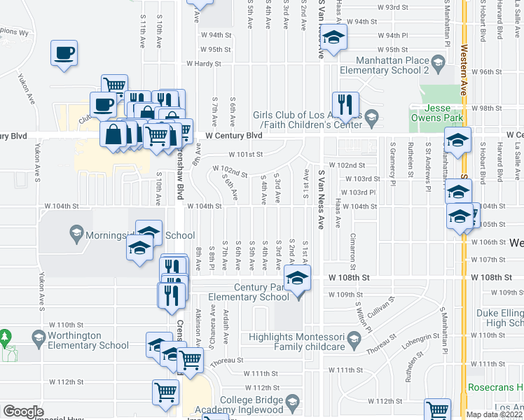 map of restaurants, bars, coffee shops, grocery stores, and more near 10401 South 4th Avenue in Inglewood