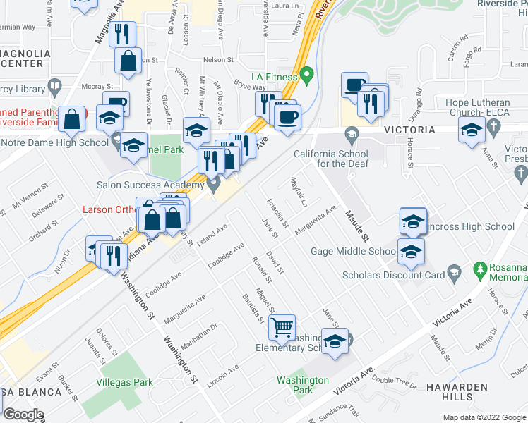 map of restaurants, bars, coffee shops, grocery stores, and more near 3209 Jane Street in Riverside