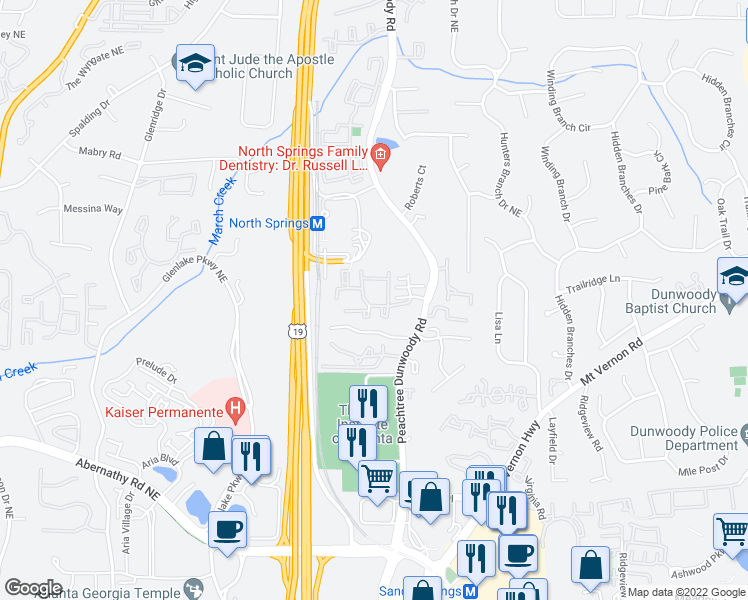 map of restaurants, bars, coffee shops, grocery stores, and more near 6850 Peachtree Dunwoody Road in Sandy Springs