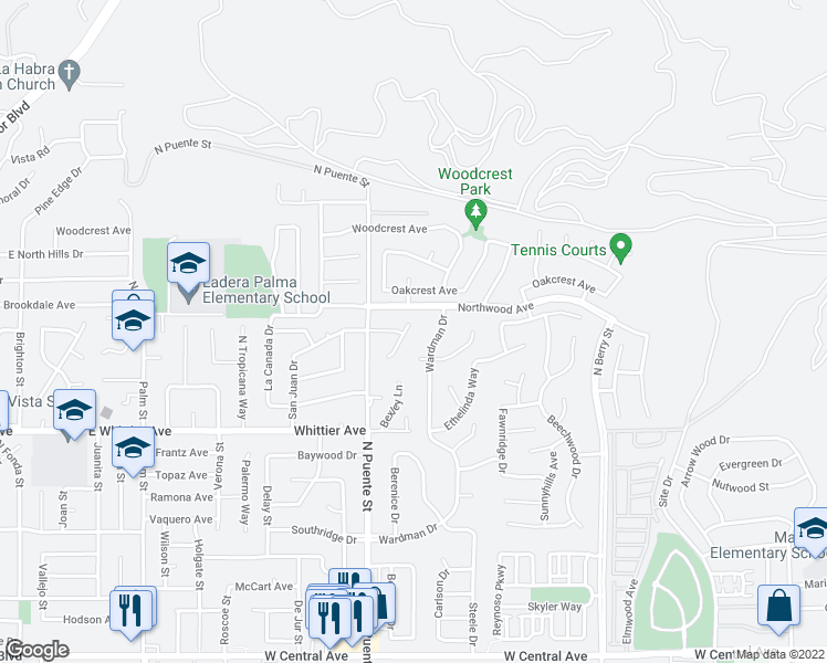 map of restaurants, bars, coffee shops, grocery stores, and more near 1456 Alta Mesa Way in Brea