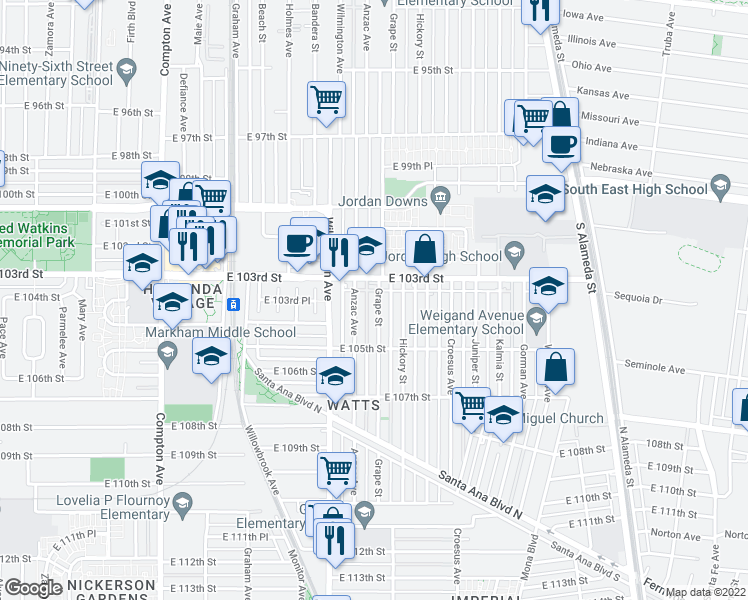 map of restaurants, bars, coffee shops, grocery stores, and more near 10323 Grape Street in Los Angeles
