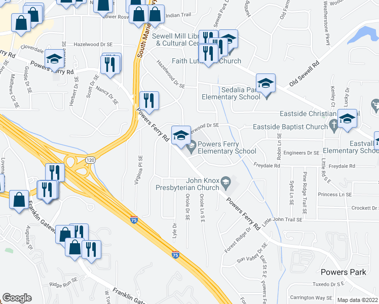 map of restaurants, bars, coffee shops, grocery stores, and more near 410 Powers Ferry Road Southeast in Marietta
