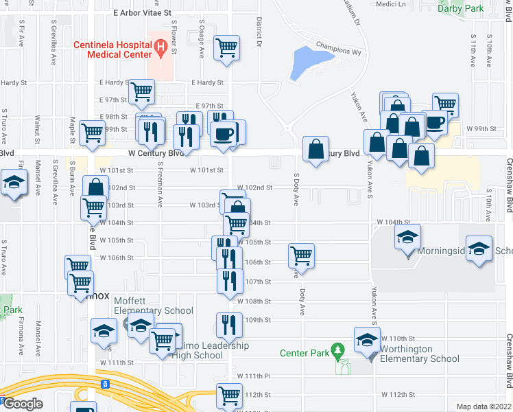 map of restaurants, bars, coffee shops, grocery stores, and more near 3911 West 104th Street in Inglewood