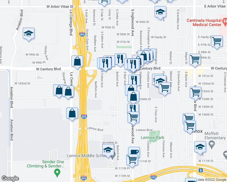 map of restaurants, bars, coffee shops, grocery stores, and more near 10330 Buford Avenue in Inglewood