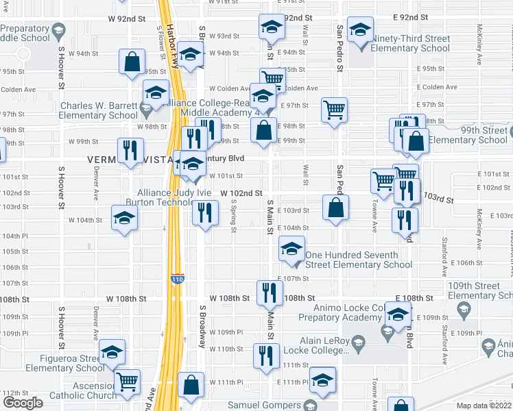map of restaurants, bars, coffee shops, grocery stores, and more near 121 West 103rd Street in Los Angeles