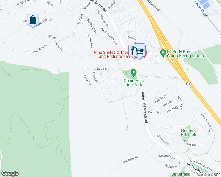 map of restaurants, bars, coffee shops, grocery stores, and more near 17065 Branco Drive in Chino Hills