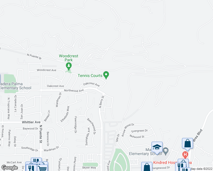 map of restaurants, bars, coffee shops, grocery stores, and more near 1664 Kellen Drive in Brea