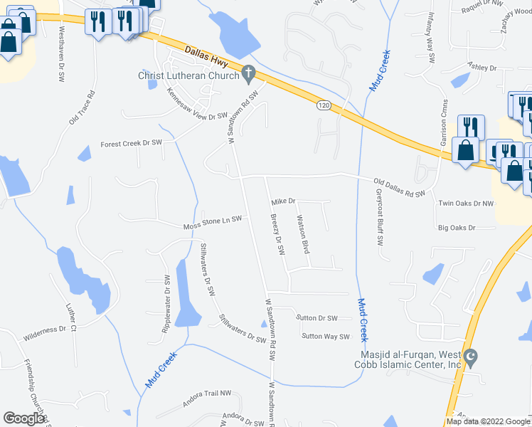 map of restaurants, bars, coffee shops, grocery stores, and more near 390 Breezy Drive Southwest in Marietta