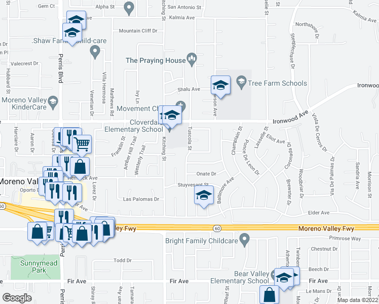 map of restaurants, bars, coffee shops, grocery stores, and more near Tuscola Street in Moreno Valley