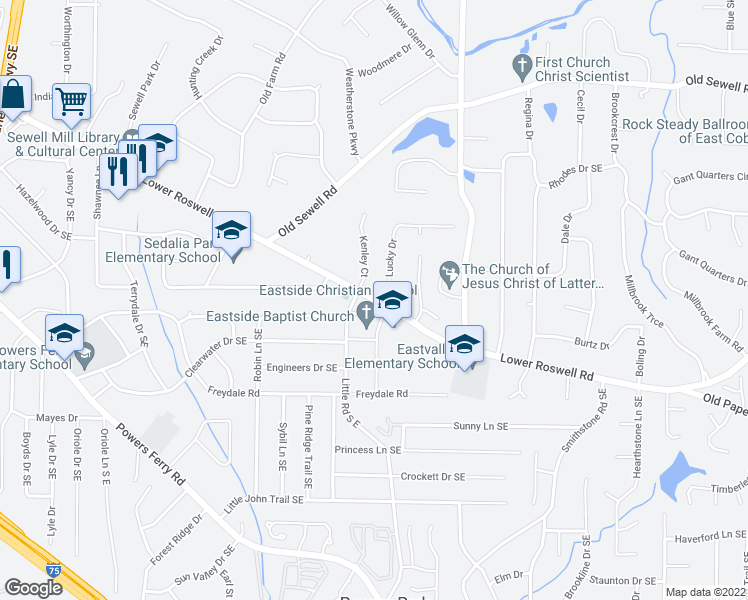 map of restaurants, bars, coffee shops, grocery stores, and more near 278 Lucky Drive in Marietta