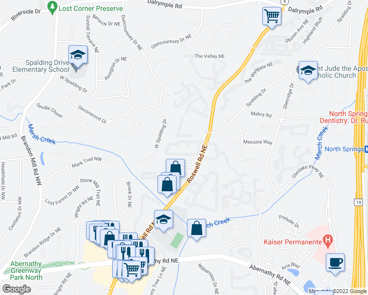 map of restaurants, bars, coffee shops, grocery stores, and more near 6940 Roswell Road in Atlanta