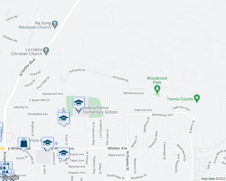 map of restaurants, bars, coffee shops, grocery stores, and more near 1675 Sandalwood Drive in Brea