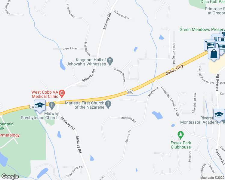 map of restaurants, bars, coffee shops, grocery stores, and more near 4338 Dallas Highway in Marietta