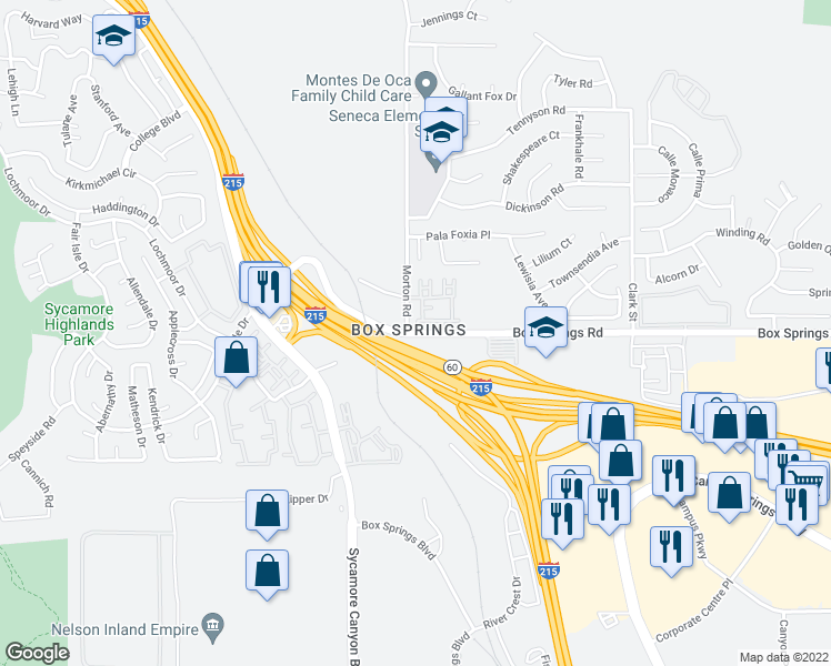 map of restaurants, bars, coffee shops, grocery stores, and more near 21025 Box Springs Road in Moreno Valley