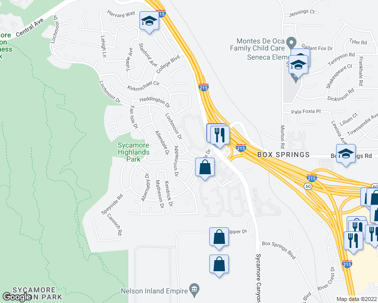 map of restaurants, bars, coffee shops, grocery stores, and more near 1598 Stoneykirk Drive in Riverside