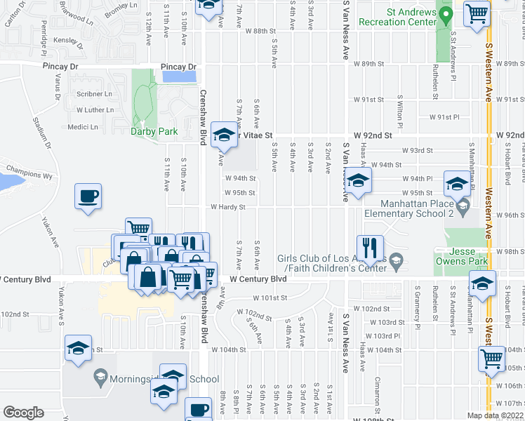 map of restaurants, bars, coffee shops, grocery stores, and more near 9602 South 6th Avenue in Inglewood