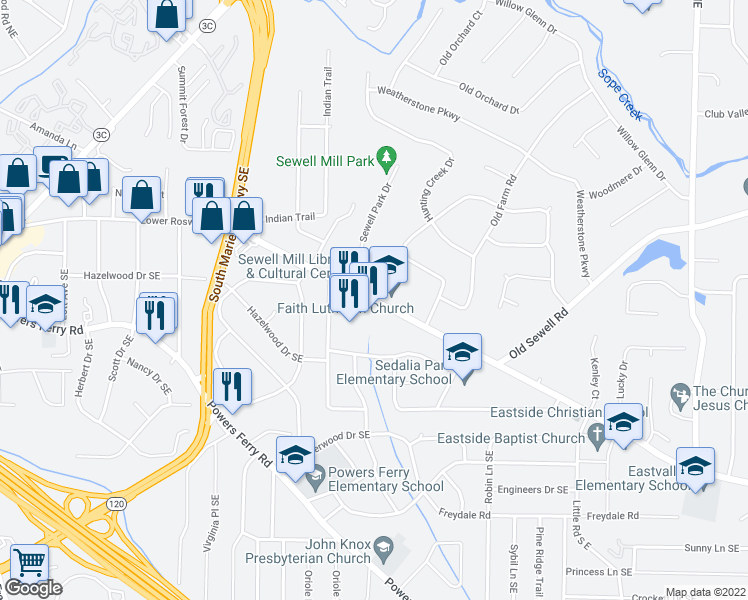 map of restaurants, bars, coffee shops, grocery stores, and more near 1-25 Sewell Park Drive in Marietta