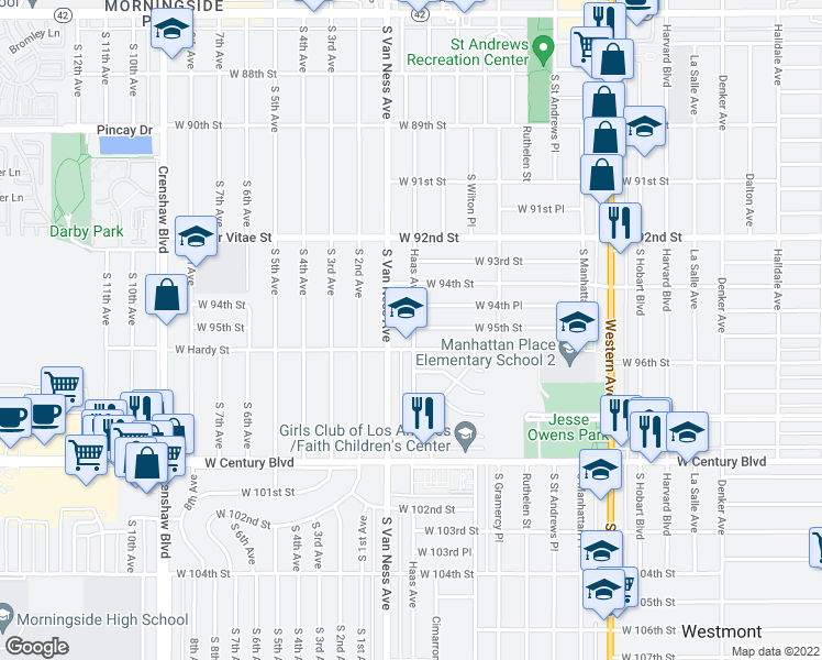 map of restaurants, bars, coffee shops, grocery stores, and more near 9520 Van Ness Avenue in Inglewood