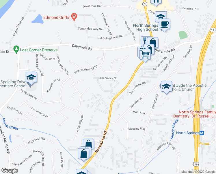 map of restaurants, bars, coffee shops, grocery stores, and more near 7100 Roswell Road in Atlanta