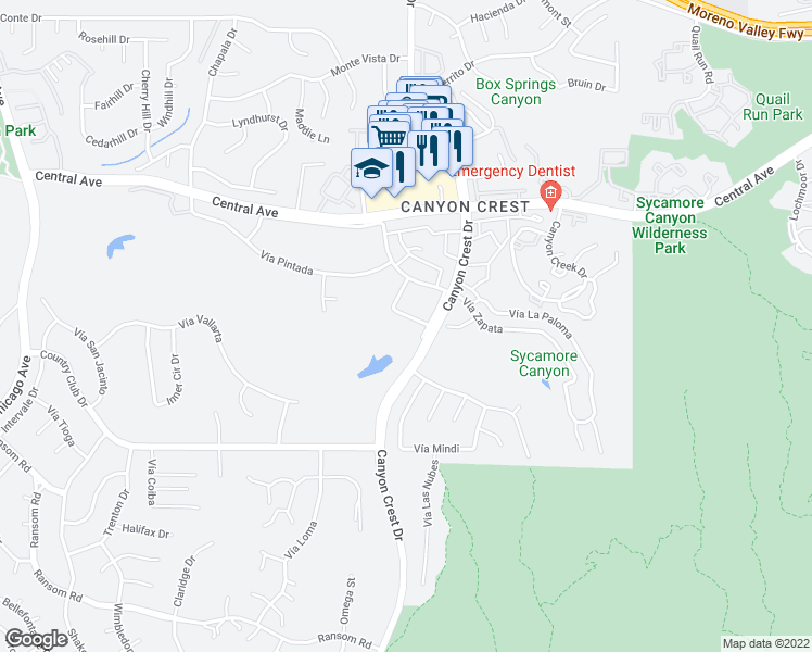 map of restaurants, bars, coffee shops, grocery stores, and more near 5555 Canyon Crest Drive in Riverside