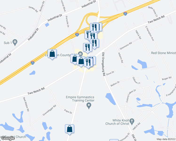 map of restaurants, bars, coffee shops, grocery stores, and more near 1123 South Lake Drive in Lexington