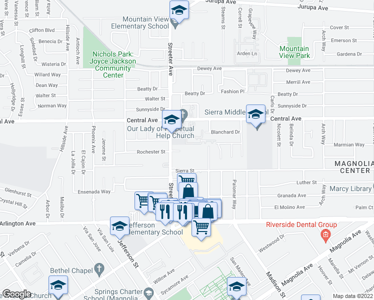 map of restaurants, bars, coffee shops, grocery stores, and more near 6730 Streeter Avenue in Riverside