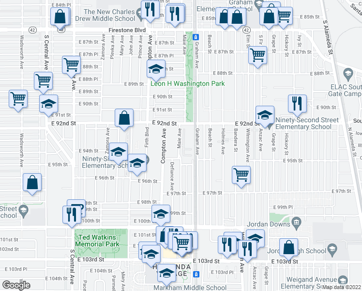 map of restaurants, bars, coffee shops, grocery stores, and more near 9300 Maie Avenue in Los Angeles