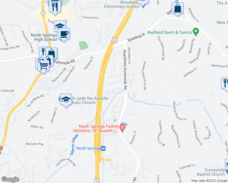 map of restaurants, bars, coffee shops, grocery stores, and more near 7200 Peachtree Dunwoody Road in Atlanta