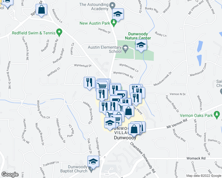 map of restaurants, bars, coffee shops, grocery stores, and more near 1321 Wyntercreek Road in Dunwoody