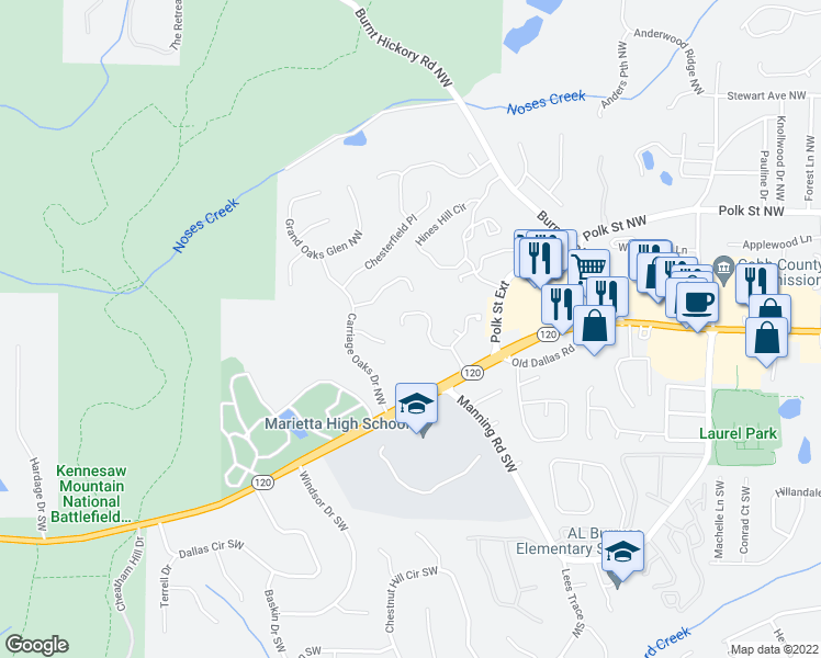 map of restaurants, bars, coffee shops, grocery stores, and more near 1312 Whitlock Ridge Drive in Marietta