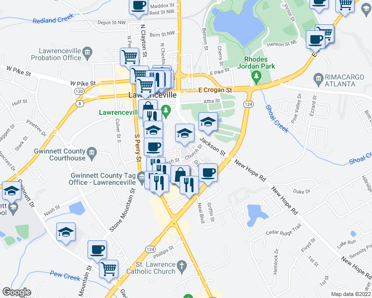 map of restaurants, bars, coffee shops, grocery stores, and more near 1-199 Green Street in Lawrenceville