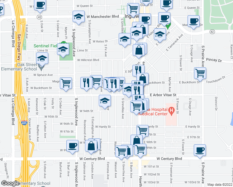 map of restaurants, bars, coffee shops, grocery stores, and more near 901-903 Walnut Street in Inglewood