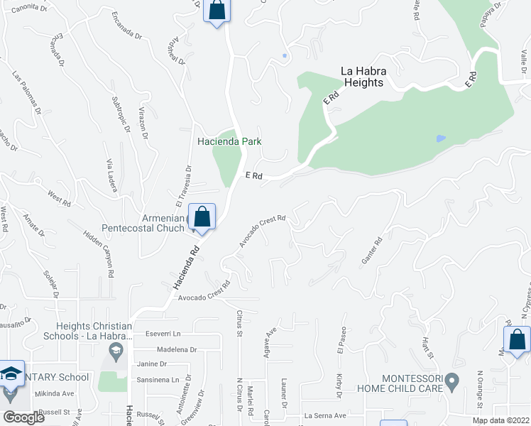 map of restaurants, bars, coffee shops, grocery stores, and more near 471 Avocado Crest Road in La Habra Heights