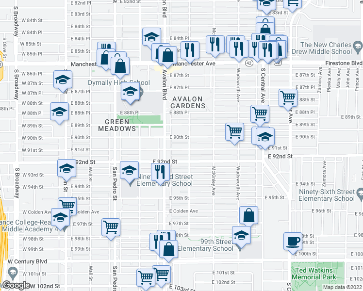 map of restaurants, bars, coffee shops, grocery stores, and more near 641 East 91st Street in Los Angeles