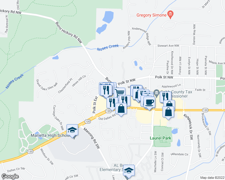 map of restaurants, bars, coffee shops, grocery stores, and more near Polk Street Extension in Marietta