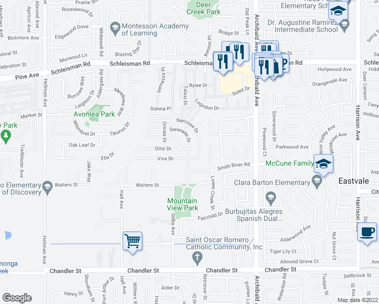 map of restaurants, bars, coffee shops, grocery stores, and more near 14414 Serenade Drive in Eastvale
